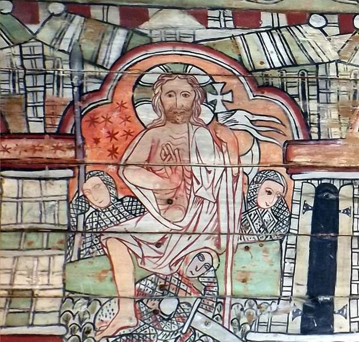 Воскресение Иисуса, 13 век: на этой картине изображено воскресение Христа на панелях норвежской церкви, датируемой 1200 годом.